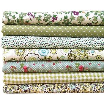 Omkuwl Serie Verde 7pcs / Set Paquetes de Tela Flor Tela de algodón Estampada Patchwork Costura Tela 50x50cm # 17: Amazon.es: Hogar