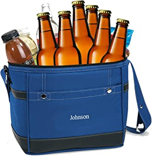 Personalized Cooler Bag for Groomsmen - Narrow Beer Travel Cooler, 18 can / 12 Bottle Capacity (Blue) - Nice Christmas or ...