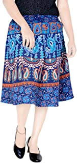 Sttoffa Indian Skirt Cotton Knee Length Elastic Band with Dori Skirt (Exact Length 24 INCH D5)