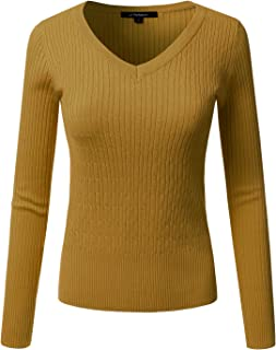 JJ Perfection Women's Classic Long Sleeve V-Neck Cable Knit Sweater