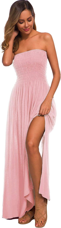 Womens Summer Strapless Tube Top Boho Maxi Dresses