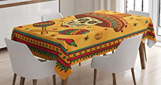 Ambesonne Mexican Decorations Tablecloth, Mexican Sugar Skull Cartoon Carnival Cartoon Traditional Celebration, Dining Room Kitchen Rectangular Table Cover, 60 X 90 inches
