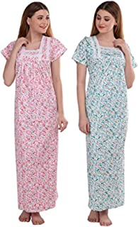 CIERGE Women's Lace Cotton Fabric Beautiful Printed Nighty (Pink, Green, Free Size) Pack of 2