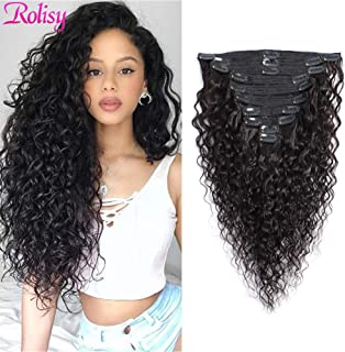 Rolisy Curly Clip in Human Hair Extensions Real Soft Thick 8A Grade Human Hair for Women Curly Hair Clip ins,Natural Black Color,10 Pcs,120 Gram,18 Inch