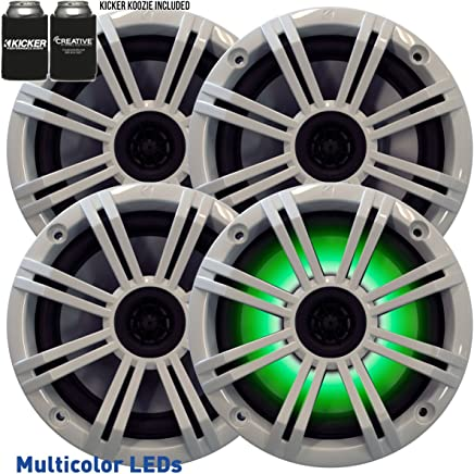 "$259 Get Kicker - Four OEM Replacement White LED 6"" 390 Watt 2-Way Marine/Boat Car Audio Coaxial Speakers KM6LC"