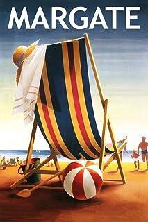 Margate, New Jersey - Beach Chair and Ball (9x12 Art Print, Wall Decor Travel Poster)
