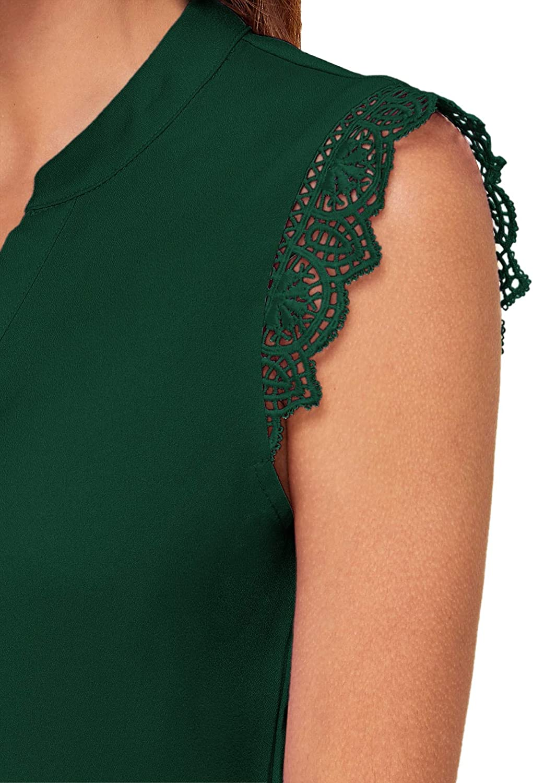 WDIRARA Womens V Neck Lace Short Sleeve Elegant Summer Top Blouse
