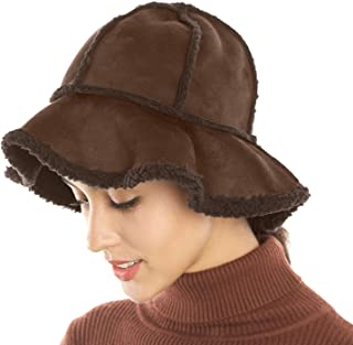 FLY HAWK Womens Bucket Hats, Cozy Fuzzy Lined Cloche Beanies Lightweight Cold Weather Chunky Skull Caps for Autumn Winter