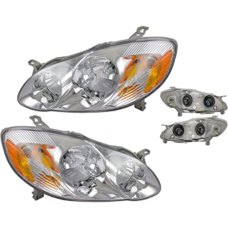 For Toyota Corolla 2003-2008 Headlight Assembly Black Housing Amber Reflector Clear Lens Driver /& Passenger Side One-Year Warranty
