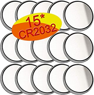 CR2032 15 Pack Universal 3 Volt Lithium Battery Coin Button Cell Replacement Long Lasting Life in Remote Entry Electronic Devices - 5 Year Warranty