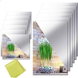 12 Pieces Self Adhesive Acrylic Mirror Sheets, Flexible Non Glass Mirror Tiles Mirror..