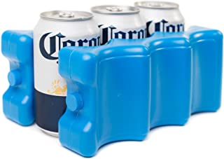 Kleager Can Beer Ice Pack for Lunch Box 2 Piece Double Sided - Reusable Cooler That Keeps 6-12 Soda Cans Cold - Solid Blue