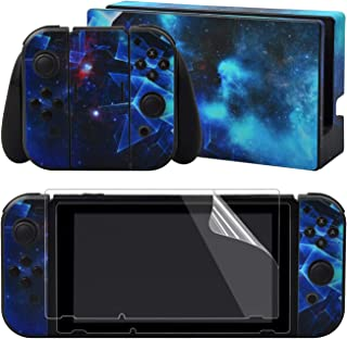 eXtremeRate Multidimensional Galaxy Print Decals Stickers Full Set Faceplate Skins +2Pcs Screen Protector for Nintendo Switch/NS Console & Joy-con Controller & Dock Protection Kit