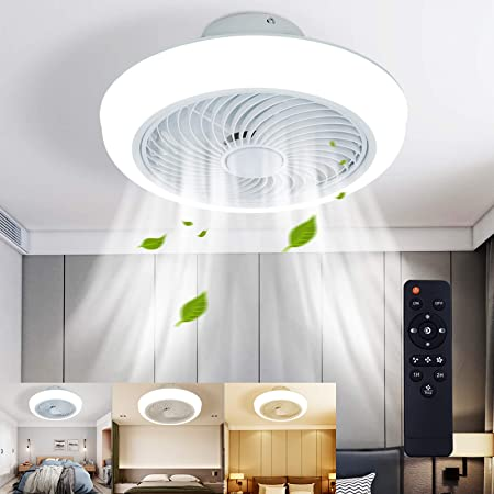 LCiWZ 18 ln Ceiling Fan with Lights,Enclosed Low Profile Fan Light,LED 72W Remote Control Dimming 3-Color 3-level wind speed,Ceiling Light with Fan,Adjustable Wind,Hidden Electric Fan delier-White.