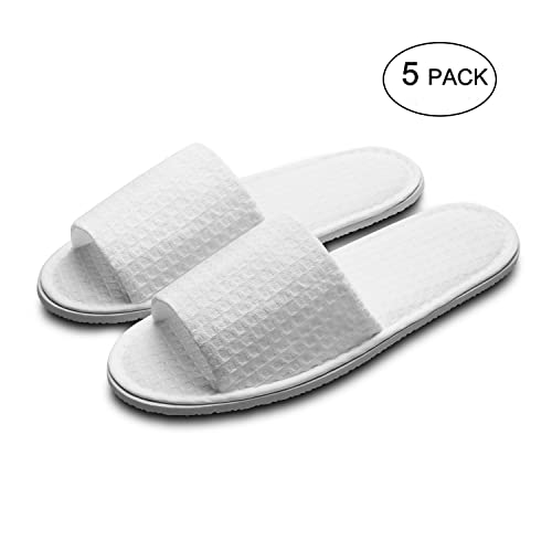 70c42c688d9 echoapple Waffle Open Toe White Slippers-Two Size Fit Most Men and Women  for Spa