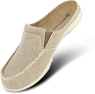Mens Slippers with Arch Support, Canvas House Slipper for Men with Velvet Lining, Slip On Clog House Shoes with Indoor Out...
