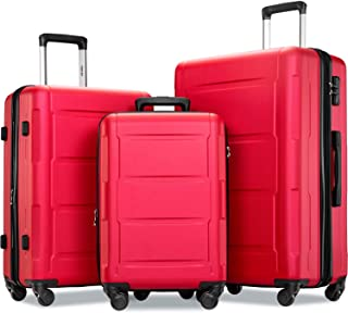 Merax Luggage Set with TSA Lock, All Expandable 3 Piece Hardshell Lightweight Suitcase Set 20inch 24inch 28inch (Red)