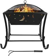 GARTIO Feuerschale mit Grillrost Multifunktional Fire Pit für Heizung/BBQ Grill,Feuerkorb mit Funkenschutzgitter, Schürhaken & Kohlerost, Feuerschalen für Den Garten Strand Terrasse,616162cm