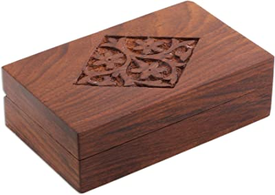 NOVICA Decorative Floral Mango Wood Box, Brown, Spring Blossoms'