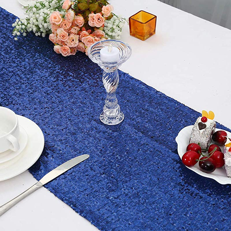 Eternal Beauty 12x108 Inch Sequin Table Runners Sparkly Metallic Sequin Runner Event Bridal Wedding Runner Birthday Party Dinner Party Navy Blue