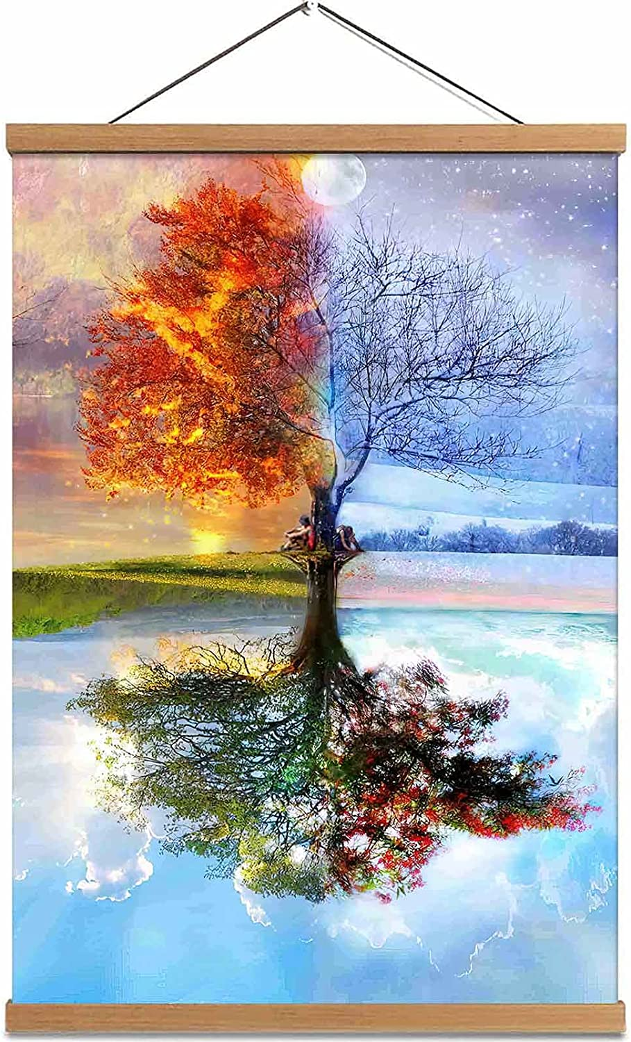 Four Season Tree of Life Decor Canvas Painting Teak Wood Magnetic Posters Frame Hanger Wall Art Decoration for Bedroom Living Room Office 16x24 Inch