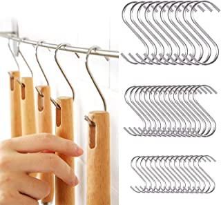 """40 Pack S Hooks Stainless Steel for Hanging 4.8""""/ 3.6""""/ 2.4"""", Heavy Duty Closet Plants Hooks for Bathroom Kitchen and Work..."""