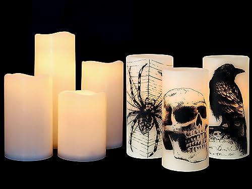 popular Eldnacele Halloween Flickering online Candles with Skull, Spider Web, Crow Raven Decals, Waterproof online sale Flameless Flickering Candles with 6 Hours Timer sale