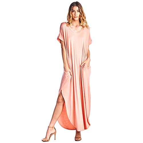 b650f42c93 12 Ami Solid V-Neck Pocket Short Sleeve Loose Maxi Dress (S-3X