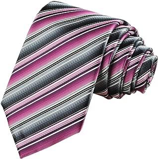 Mens Striped Pink Black Golden Tie Necktie Party Wedding Holiday Gift
