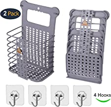 EddHomes Laundry Basket Collapsible Large Hanging Laundry Hamper Basket with Handles for College Dorm, Collaspable Tall Plastic Dirty Laundry Basket Storage for Women 2 Laundry Basket Foldable Gray