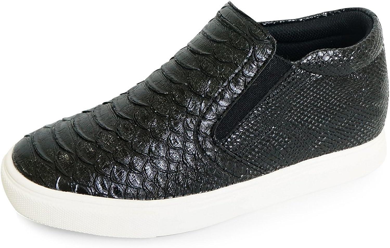 MNX15 Women's Elevator shoes Height Increase 2.4  Mango Black Wedge Sneakers High Heel Sneakers