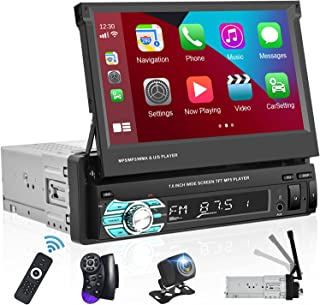 $126 » Single Din Car Stereo with Apple Carplay Android Auto 7 Inch Retractable Touchscreen Car Radio Bluetooth FM Receiver Mirro...
