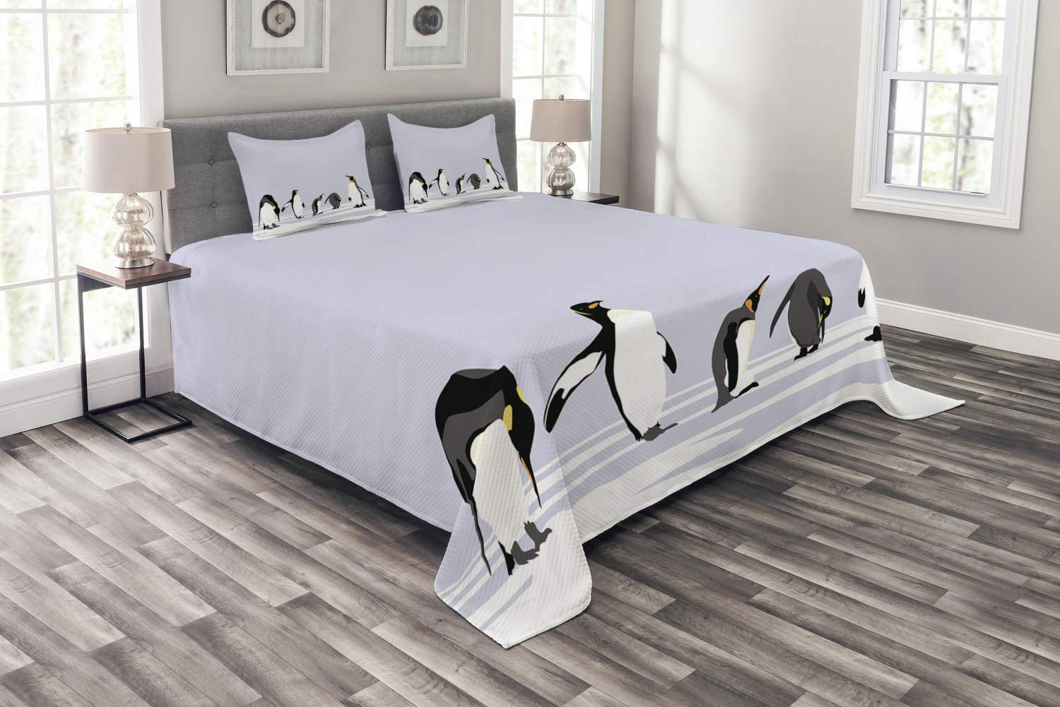 Ambesonne Animal Bedspread Penguins Special price for a limited time on Land Winter Polar ICY Cl Philadelphia Mall