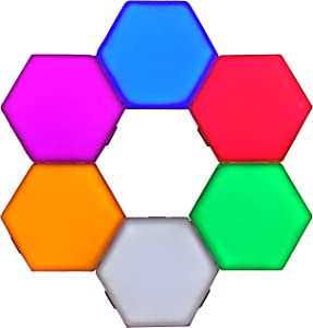 Penophiary Color Hexlight Modular Touch Lights Panels Wall Lighting Tiles Hex Lights Touch Night Light Magnetic Hexagonal Wall Light Lamps Hexagonal Lights Honeycomb Tile Lamp Hex Light LED (6 Pcs)