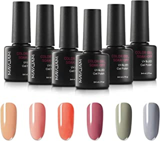 MAYJAM Classic Gel Nail Polish Set Nude Grey Pink 6 Colores Kit de Esmalte en Gel Diseño Popular de Arte de Uñas Soak Off ...
