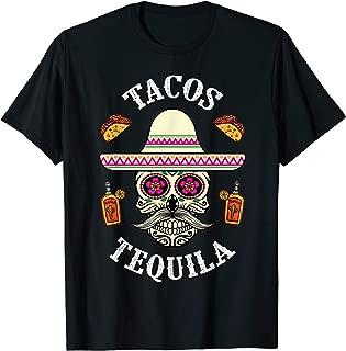 Sugar Skull Tacos Tequila Day Of The Dead Drinking Skulls T-Shirt