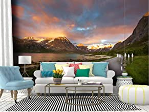 Wall Mural the most beautiful fjord road in northern norway spectacular sunset Peel and Stick Wallpaper Self Adhesive Wall...