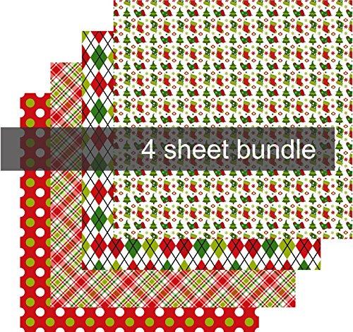 Christmas Pattern Vinyl, Christmas Vinyl for Cricut, Adhesive Vinyl Sheets, 4-12'x12' Bundle