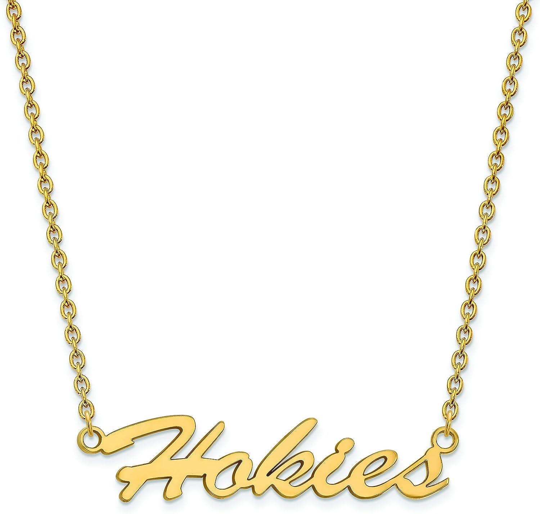 Virginia Tech Medium (5 8 Inch) Pendant w Necklace (gold Plated)