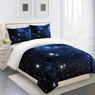 XYXSS 3D Impresión Ropa De Cama (L140 * W200Cm) Cielo Estrellado Azul Microfibra Edredón Juego De Cama 4 Piezas,Fundas Nórdicas con Cremallera Y 2 Fundas De Almohada Colcha Decoración