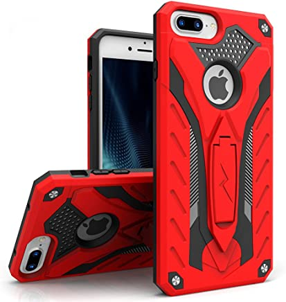 Zizo Static Series Compatible with iPhone 8 Plus Case Military Grade Drop Tested with Kickstand iPhone 7 Plus iPhone 6 Plus Case Red Black