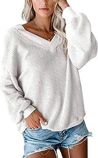 FAFOFA Women V Neck Long Sleeve Waffle Knit Blouse Casual Pullover Shirt Tops