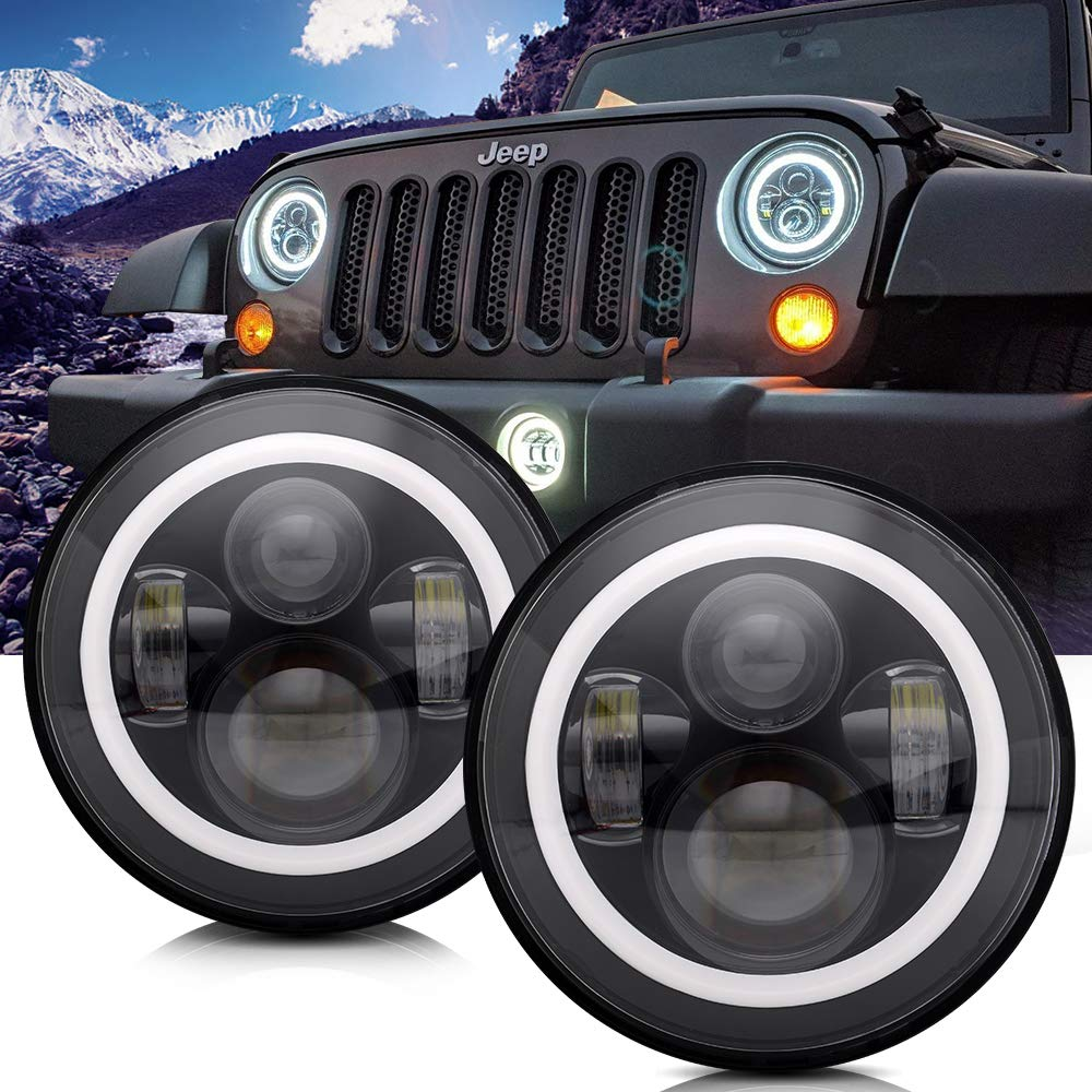 led lights for jeep wrangler amazon comturbosii dot approved 7\u0027\u0027 round black led headlight with high low beam white drl