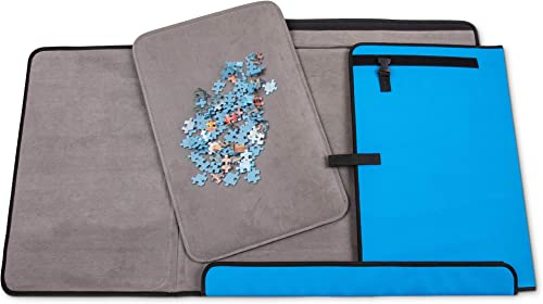 discount Jumbl 1000-Piece Puzzle Caddy | Portable 2021 Jigsaw Puzzle Mat, Organizer, Storage & Travel Case with Non-Slip Felt Surface, [2] Removable Trays for Sorting, Easy Velcro, Folding Design & Carry sale Handle online