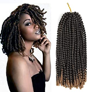 Roktress 6 Pack Spring Twist Crochet Hair Braiding Bomb Twist Ombre Colors Low Temperature Kanekalon Synthetic Fiber Fluffy Hair Extensions (14inches, T1B-27)