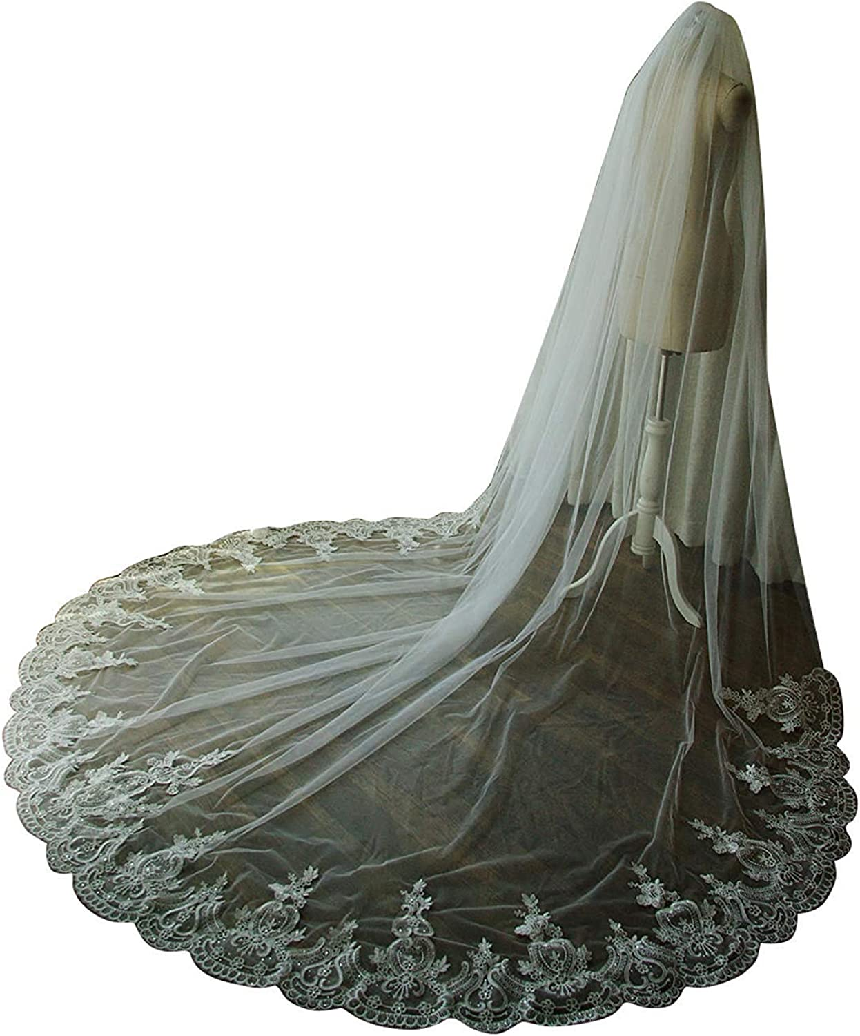 EllieHouse Max 49% OFF Women's Long Crystal And Quality inspection Wit Wedding Veil Bridal Lace