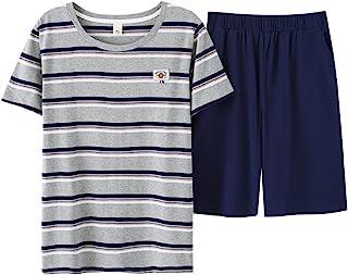 Leisure Home Big Boys Pajamas,Summer Fashion Strips Cotton Shorts Tee Shirt 8-18 Years