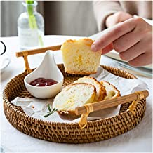 MAHFEI Round Woven Bread Roll Baskets, Bread Basket With Handles Food Serving Baskets Rattan Kitchen Trays Tea Tray For Re...