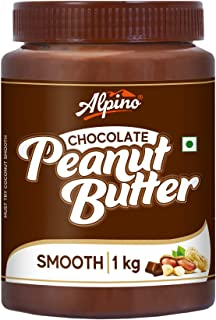Alpino Chocolate Peanut Butter Smooth 1 KG | Made with High Quality Roasted Peanuts, Cocoa Powder & Choco Chips | 100% Non...