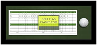 7x17 Black Golf Scorecard & Ball Frame, Moulding blk-004 Shadowbox, Green Mat (holds up to approx. 5x12 card); card & ball not included